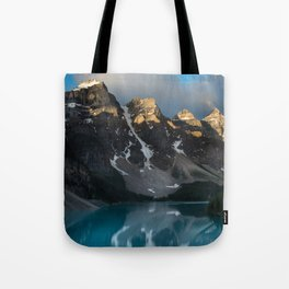 Teal Turquoise Blue Lake Moraine Reflection Tote Bag
