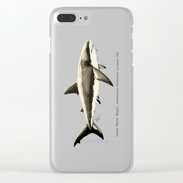 """Carcharodon carcharias II"" by Amber Marine  ~ Great White Shark Illustration, (Copyright 2015) Clear iPhone Case"