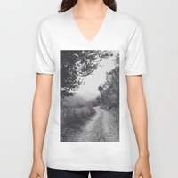 road V-neck T-shirts featuring ROAD by Yigit C.