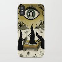 jon snow iPhone & iPod Cases featuring Three Shadow People Terrify a Victim During an Episode of Sleep Paralysis by Jon MacNair