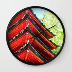 Red Pagoda Wall Clock