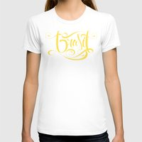 brasil T-shirts featuring Brasil Lettering Inverted by Roberlan Borges