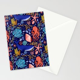 Into the Ocean - Pattern block Stationery Cards