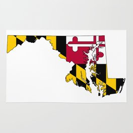 Map of Maryland with Maryland State Flag Rug