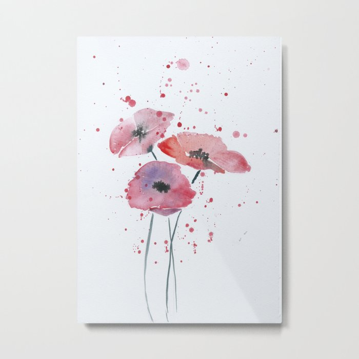 Red poppy flowers watercolor painting Metal Print