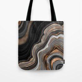Elegant black marble with gold and copper veins Tote Bag