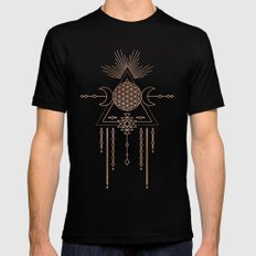 Mandala Flower of Life Moon Pink Rose Gold Mens Fitted Tee Black SMALL