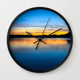 Sunset at Stumpy Lake in Virginia Beach Wall Clock