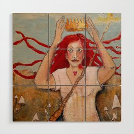 Crowning Herself Wood Wall Art