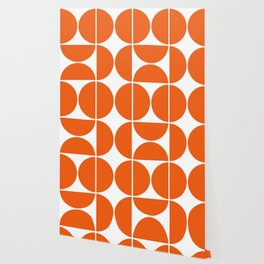 Mid Century Modern Orange Square Wallpaper