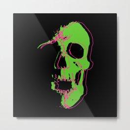Skull - Neon Metal Print