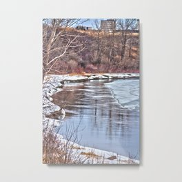 Snowy Riverbank Metal Print