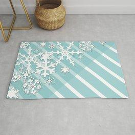 Winter . Paper snowflakes. Rug