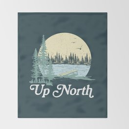 Up North Lake, Blue Spruce Throw Blanket