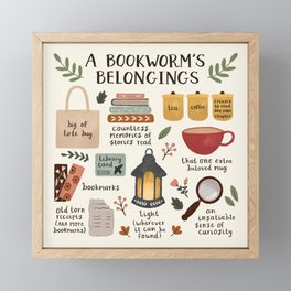 A Bookworm's Belongings Framed Mini Art Print