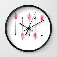 craftberrybush Wall Clocks featuring Boho arrow watercolor  by craftberrybush