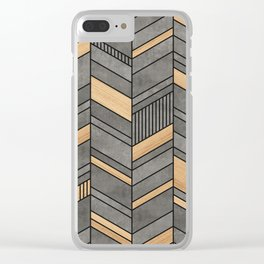 Abstract chevron pattern - concrete and wood Clear iPhone Case