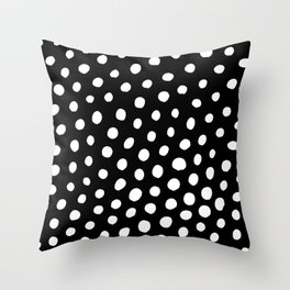 White Dots with Black Background Throw Pillow