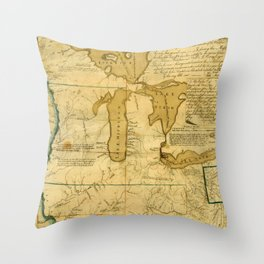 Map Of Great Lakes 1785 Throw Pillow