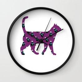 Purple Snowman Cat Wall Clock