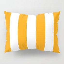 Bright Mango Mojito and White Wide Vertical Cabana Tent Stripe Pillow Sham
