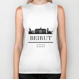 BEIRUT LEBANON BLACK SILHOUETTE SKYLINE ART Biker Tank