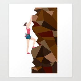 Vintage Cool Girl Rock Climbing Art Print