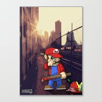 grand theft auto Canvas Prints featuring Grand Theft Mario by Deano Peppers