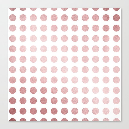 Simply Polka Dots in Rose Gold Sunset and White Canvas Print