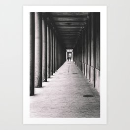 Arcade with columns in Copenhagen, architecture black and white photography Art Print