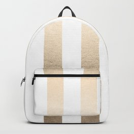 Simply Vertical Stripes in White Gold Sands Backpack