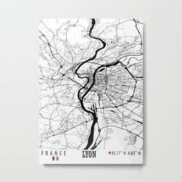 Lyon, France Road Map Art - Earth Tones Metal Print