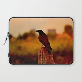 Crow on a Post at Sunset Laptop Sleeve