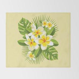 Tropical Bouquet. Plumeria Throw Blanket
