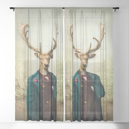 Lord Staghorne in the wood Sheer Curtain