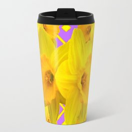 Golden Yellow Daffodils Bouquet Garden Lilac Art Travel Mug