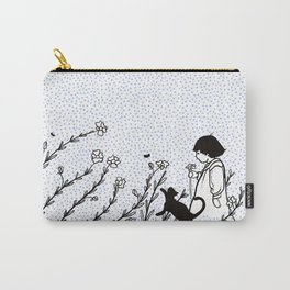 Vintage child in blue, walking in wild flowers Carry-All Pouch