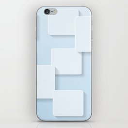 WHITE SQUARES ON A LIGHT BLUE BACKGROUND Abstract Art iPhone Skin