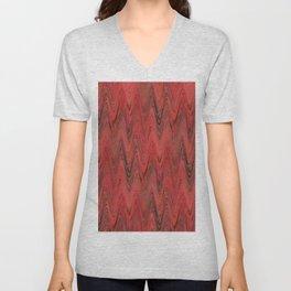 Zigzag Red Unisex V-Neck