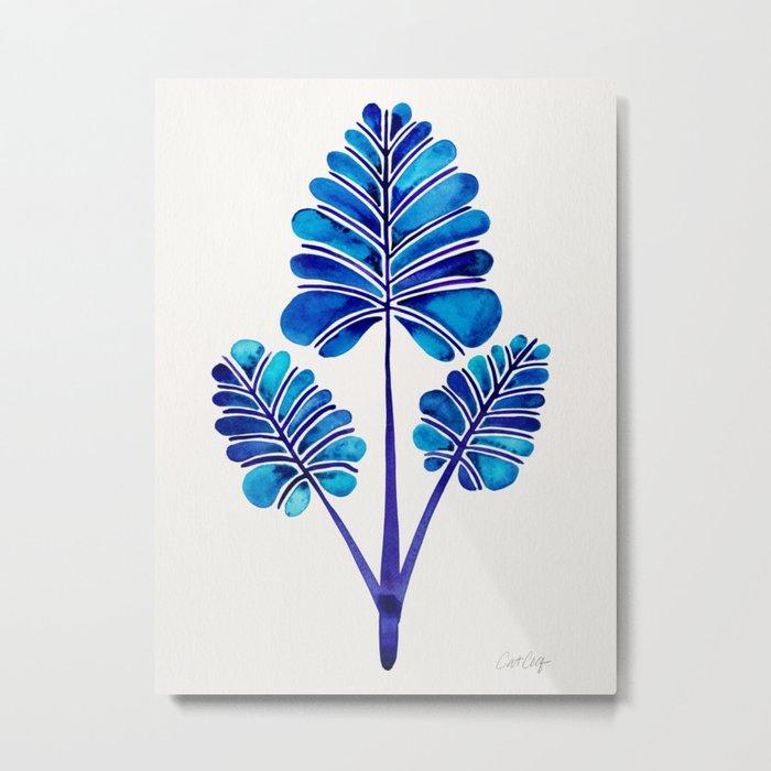 Tropical Palm Leaf Trifecta – Navy Palette Metal Print