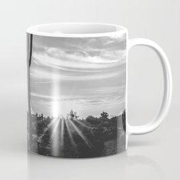 Saguaro Sunrise // Black and White Arizona Desert Landscape Photography Cactus Sun Rays Coffee Mug