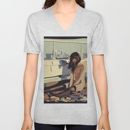 Lonely woman Unisex V-Neck