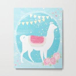 Festive Llama Metal Print