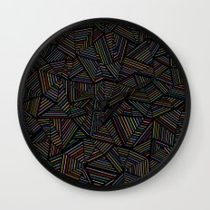 Ab Linear Rainbow Black Wall Clock
