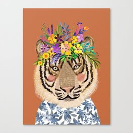 Tiger with Floral Crown Art Print, Funny Decoration Gift, Cute Room Decor Canvas Print
