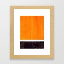 Minimalist Mid Century Modern Color Block Pop Art Rothko Inspired Golden Yellow Black Squares Framed Art Print