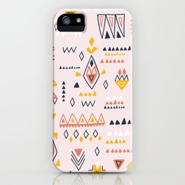 Vintage ethnic elements hand drawn on pastel background illustration pattern iPhone Case