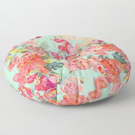 Antique Floral Print in Coral and Mint Tones Floor Pillow