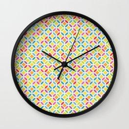Rainbow Geometric Lattice Circles Pattern Wall Clock