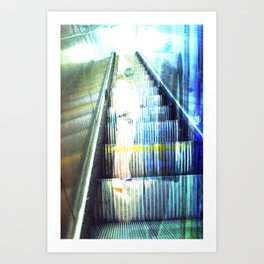 Light Escalator - Double Exposure Art Print